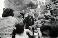 9er Coach, Bill Walsh & Mayor Diane Fienstien, celebrate in Superbowl Victory Parade in SF, 1986