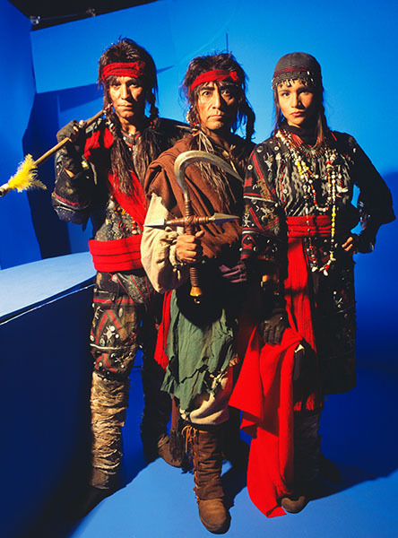 Actors on blue screen set of Myst II, an interactive computer game, for Newsweek