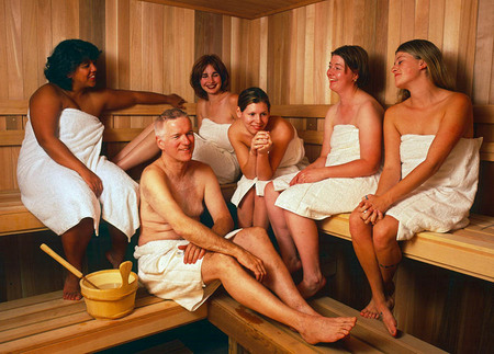 Ssh.Com CEO enjoying the  company sauna with employees, for Newsweek