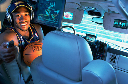 Gilbert Arenas, Golden State Warrior, in his Cadallac Escalade, for Sports Illustrated.
