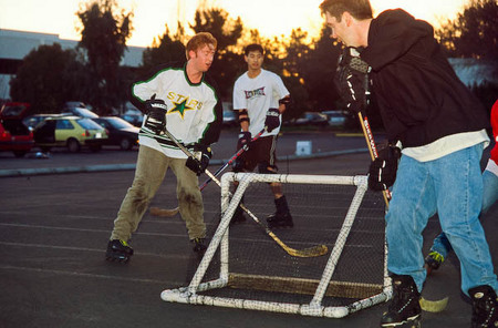 Roller Hockey in Icarian's former site parking lot.